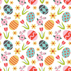 Colorful vector seamless pattern with easter eggs and flowers