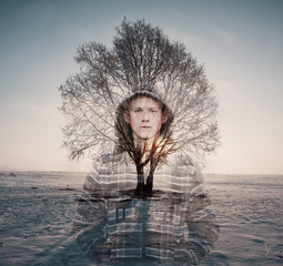 Double exposure portrait of young man