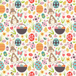 Colorful vector seamless pattern with easter related symbols 1