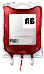 A blood bag with type AB blood