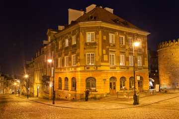 New Town in Warsaw at Night