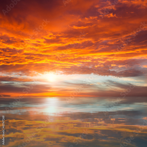 Reflection of Beautiful Sunset /  Majestic Clouds and Sun above