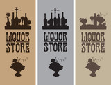 three banners for shop alcoholic drinks with still lifes