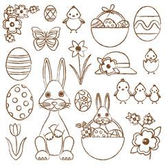 Hand drawn Easter symbols vector set