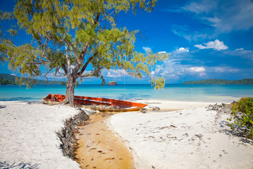 Beautiful turquoise beach on  Koh Rong Samloem in Cambodia.