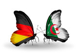 Two butterflies with flags Germany and Algeria