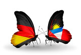 Two butterflies with flags Germany and Antigua and Barbuda
