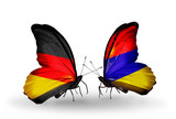 Two butterflies with flags  Germany and Armenia