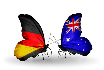 Two butterflies with flags  Germany and Australia