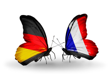 Two butterflies with flags  Germany and France
