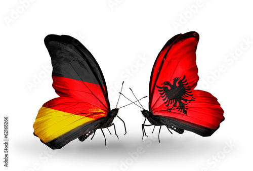 Two butterflies with flags Germany and Albania