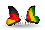 Two butterflies with flags Germany and Guinea