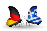 Two butterflies with flags Germany and Greece