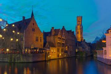 Bruges Brugge, Belfort from Rozenhoedkaai in Blue Hour