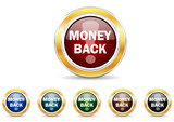 money back icon vector set