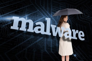Businesswoman holding umbrella behind the word cyber