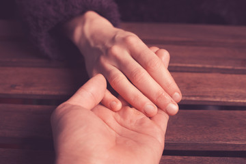 Lover's holding hands