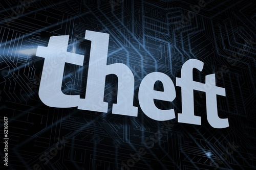 Theft against futuristic black and blue background