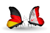 Two butterflies with flags Germany and Malta