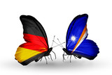 Two butterflies with flags Germany and Marshall islands
