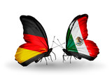 Two butterflies with flags Germany and Mexico