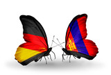 Two butterflies with flags  Germany and Mongolia