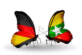 Two butterflies with flags  Germany and Myanmar