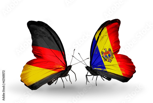 Two butterflies with flags Germany and Moldova