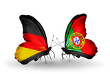 Two butterflies with flags  Germany and Portugal