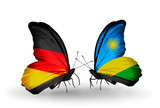 Two butterflies with flags Germany and Rwanda