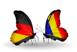 Two butterflies with flags Germany and Chad, Romania