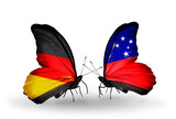 Two butterflies with flags Germany and Samoa