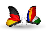 Two butterflies with flags Germany and Seychelles