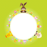 Bunny, Duck & Sheep Round Frame Green