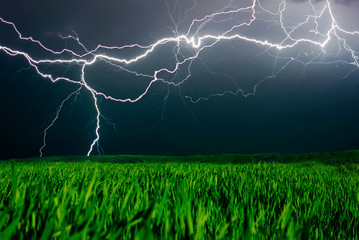 Lightning above the field