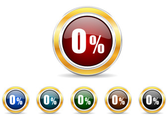 0 percent icon vector set