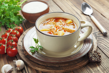 Cabbage soup with meat