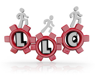LLC Limited Liability Corporation Acronym People Walking Gears