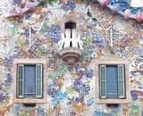 Detail of Casa Battlo facade in Barcelona, Spain