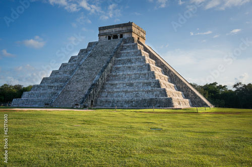 Kukulkan Pyramid at Chichen Itza, Mexico (sunset)