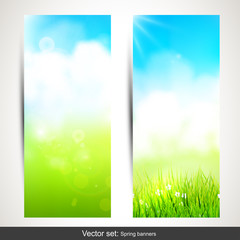 Set of two vertical spring banners