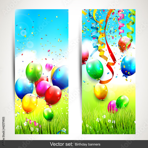 Set of two colorful birthday banners