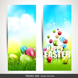 Set of two vertical Easter banners