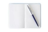 Simple note book with pen. Clipping path.