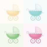 Pastel Baby Carriage Vectors.