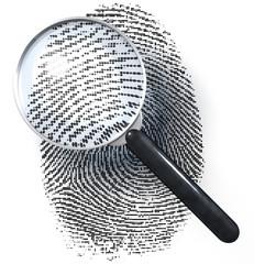 Lupe über Fingerabdruck in Punktraster