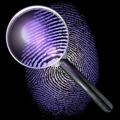 Lupe über Fingerabdruck in Punktraster, UV-Licht