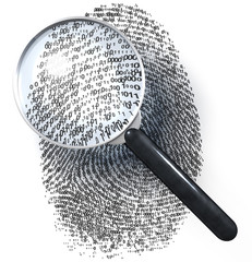 Lupe über Fingerabdruck in Eins-Null-Raster