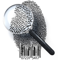 Lupe über Fingerabdruck QR-Code