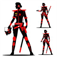 riot policewoman without helmet in Black & Red